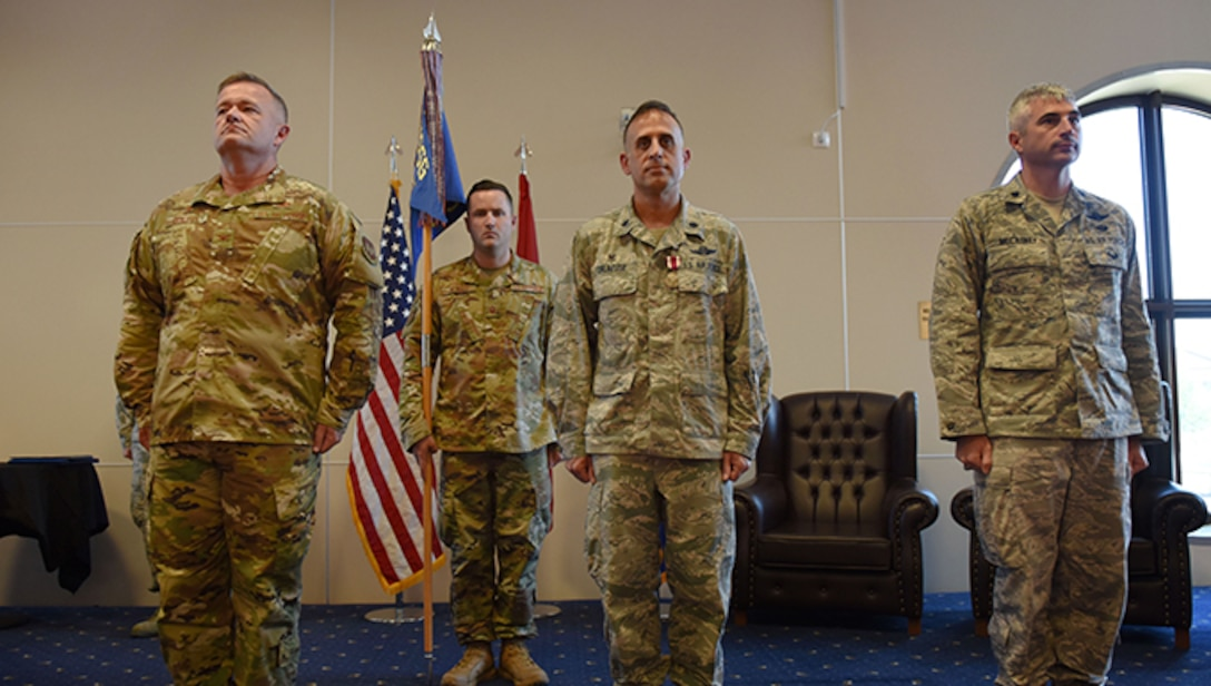 Leadership from the 39th Weapons System Security Group and 39th Operations Support Squadron conducts a change of command ceremony June 6, 2019, at Incirlik Air Base, Turkey. According to Air Force regulations, the primary purpose of a change of command ceremony is to allow subordinates to witness the formal command change from one officer to another. (U.S. Air Force photo by Senior Airman Joshua Magbanua)