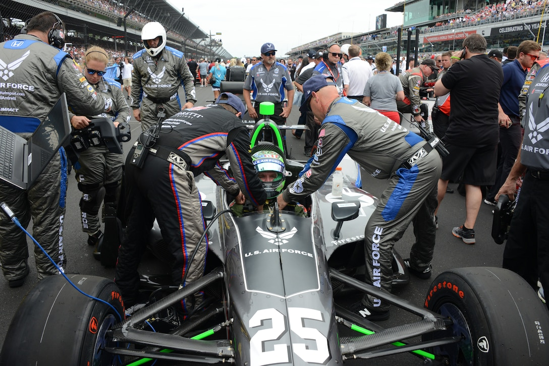 Conor Daly getting ready in the No. 25 car to run the 2019 Indy 500. The Air Force sponsored Daly and his entire crew wore Air Force attire and the car was outfitted in Air Force livery. Daly finished the race in 10th place. (Air Force photo/Master Sgt. Chance Babin)