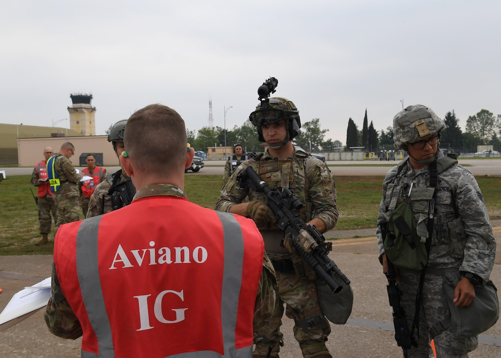 Members of the 31st Security Forces Squadron participate in a Full Spectrum Readiness exercise, Aviano Air Base, Italy, June 5, 2019.