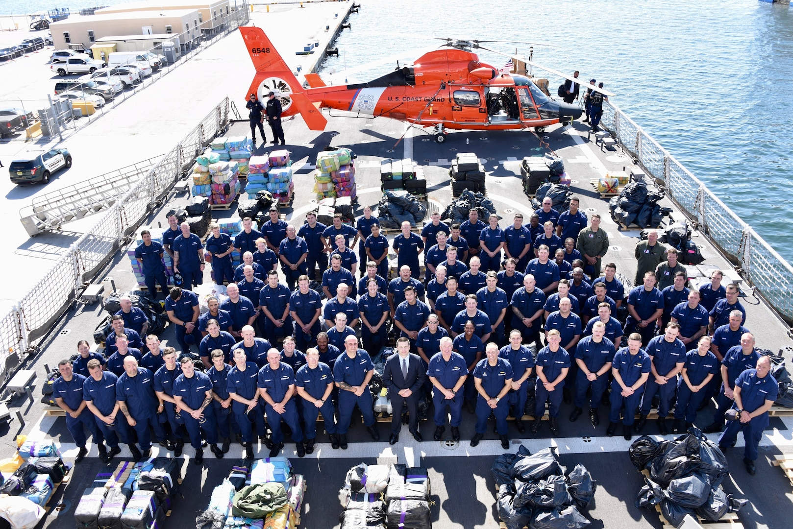 A crew group photo on the deck of Coast Guard Cutter Hamilton.