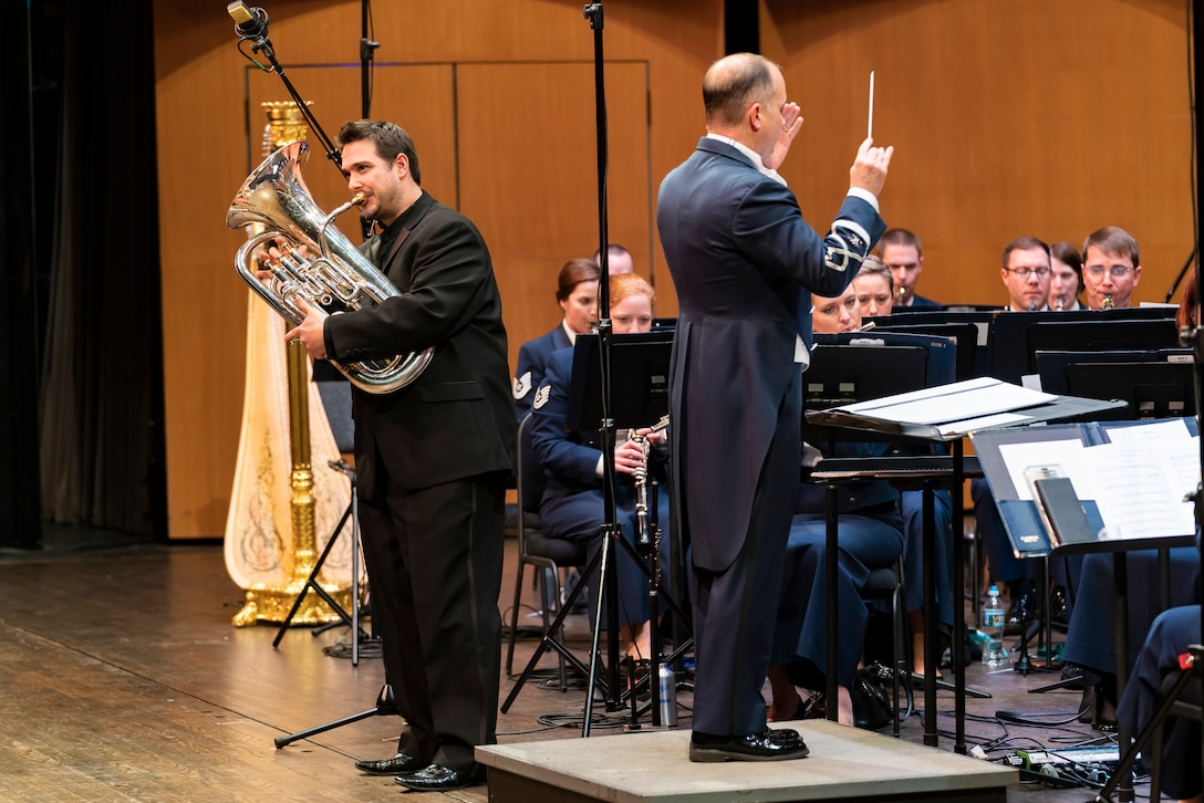 David Childs performs with the Concert Band at the 2019 Guest Artist Series. The Concert Band's Guest Artist Series, presented by The United States Air Force Band, provides an opportunity for the public to experience the Air Force's high level of professionalism through concerts featuring renowned guest musicians.