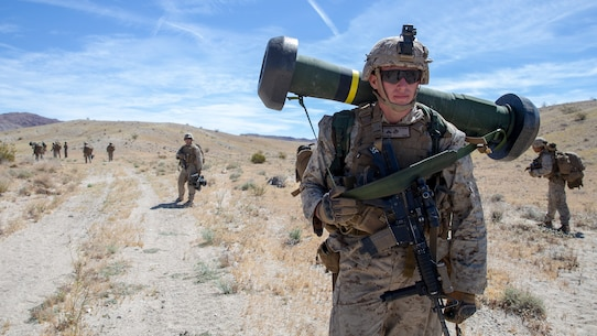 U.S. Marine Corps Lance Cpl. Thomas R. Norris, an antitank missile gunner with 1st Battalion, 1st Marine Regiment, 1st Marine Division, patrols during an integrated training exercise at Marine Corps Air Ground Combat Center, Twentynine Palms, California, April 28, 2019.