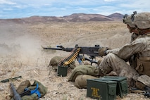 U.S. Marine Corps Lance Cpl. Jonathan Tigertailgomez, a machine gunner with 1st Battalion, 5th Marine Regiment, 1st Marine Division, fires a M2 Browning .50-caliber machine gun during an integrated training exercise at Marine Corps Air Ground Combat Center, Twentynine Palms, California, April 28, 2019.