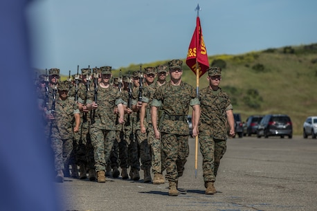 U.S. Marines with 3rd Battalion, 1st Marine Regiment, 1st Marine Division, march during a change of command ceremony at Marine Corps Base Camp Pendleton, California, April 18, 2019.