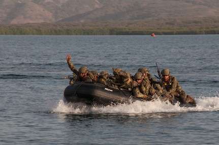Mexican Navy personnel approach the shore during the final exercise scenario for the first phase of Exercise Tradewinds 19.