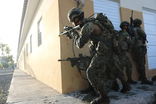 Members of the Mexican Navy return fire in Sector 3 of the final exercise for Phase 1 of Exercise TRADEWINDS 2019.