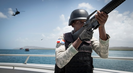 A member of the Dominican Republic Navy partakes in the final boarding exercise.