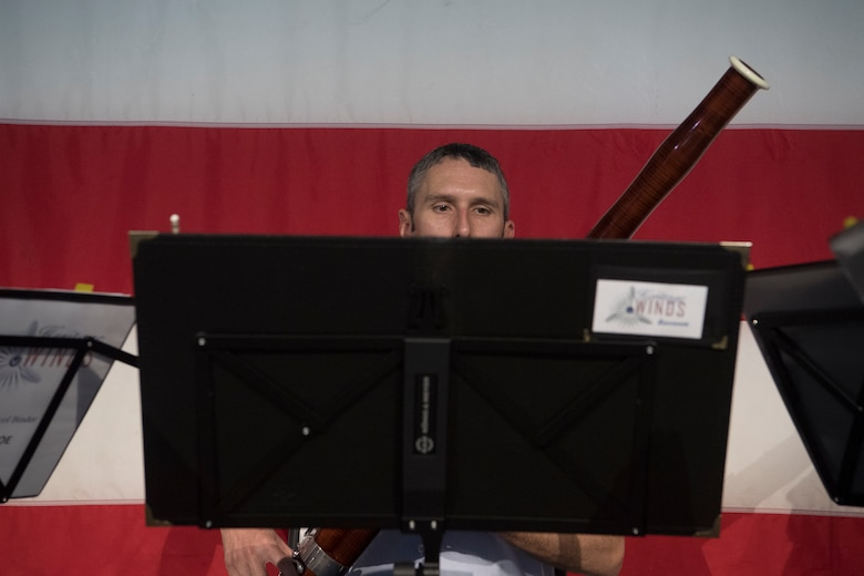 Master Sgt. Christopher Stahl, a bassoonist with the U.S. Air Force Heritage Winds, performs for veterans and community members June 6th, 2019 in Mount Pleasant, S.C.