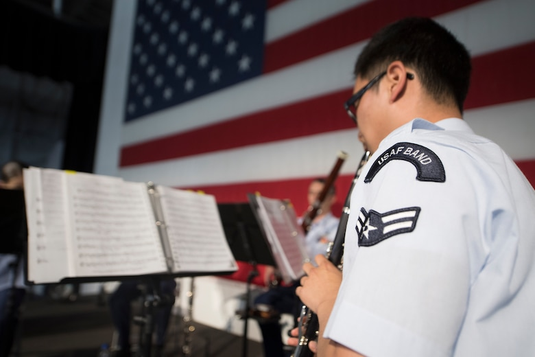 Airman 1st Class Louis Kim, a clarinet player with the U.S. Air Force Heritage Winds, performs for veterans and community members June 6th, 2019, in Mount Pleasant, S.C.