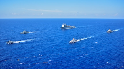 Vessels from the U.S., Canada, Dominican Republic, United Kingdom and Mexico go underway to participate in the photo exercise, Tradewinds 2019.