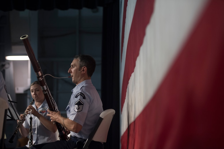 Master Sgt. Christopher Stahl, a bassoonist with the U.S. Air Force Heritage Winds, performs, June 6th, 2019, in Mount Pleasant, S.C.