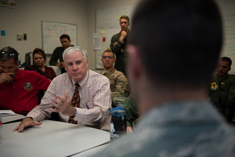 A subject matter expert gives his feedback to a group of Squadron Officer School students on their initial Think Tank presentations, May 31, 2019, Maxwell Air Force Base, Alabama. Think Tank is an SOS elective that challenges students to find solutions for big Air Force issues. This class was further tasked with coming up with ways in which Artificial Intelligence could be used to better Air Force processes.