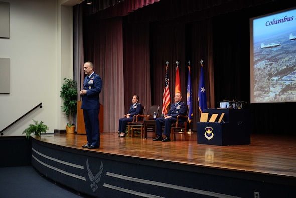Brig. Gen. Edward Vaughan, Special Assistant to the Director of Training and Readiness, Deputy Chief of Staff for Operations, speaks at the Kaye Auditorium to celebrate the graduation of class 19-10/16 May 31, 2019, on Columbus Air Force Base, Miss. As the pilots get ready to embark on their first assignment they receive a guest speaker at their graduation to send them off with confidence. (U.S. Air Force photo by Airman 1st Class Jake Jacobsen)