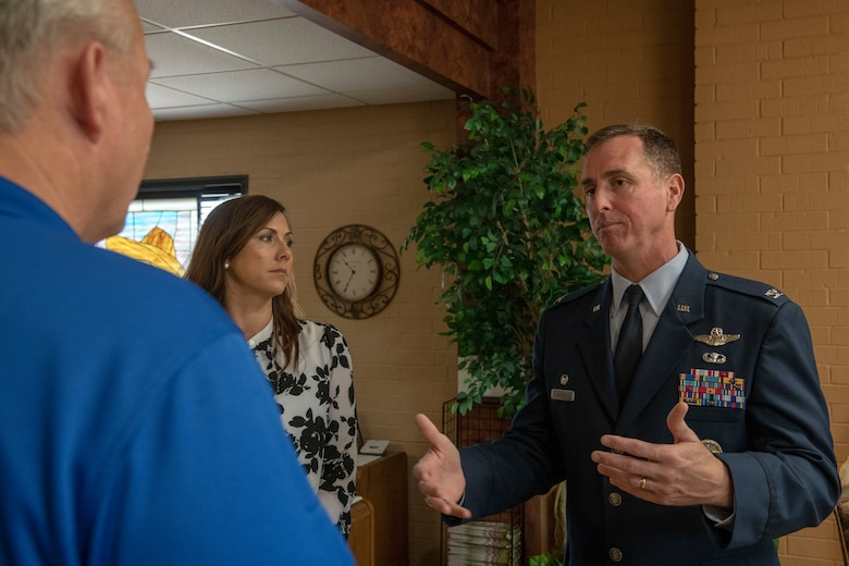 Col. William Mickley, 97th Operations Group commander, talks to Rodger Kerr, Altus Chamber of Commerce president, about finding ways to improve the lives of Airmen and families of the 97th Air Mobility Wing, June 7, 2019, at Altus, Okla. The Chamber of Commerce supports the base and its families in a variety of ways, including providing job opportunities, hosting community-wide events in the city and welcoming members to the local area.