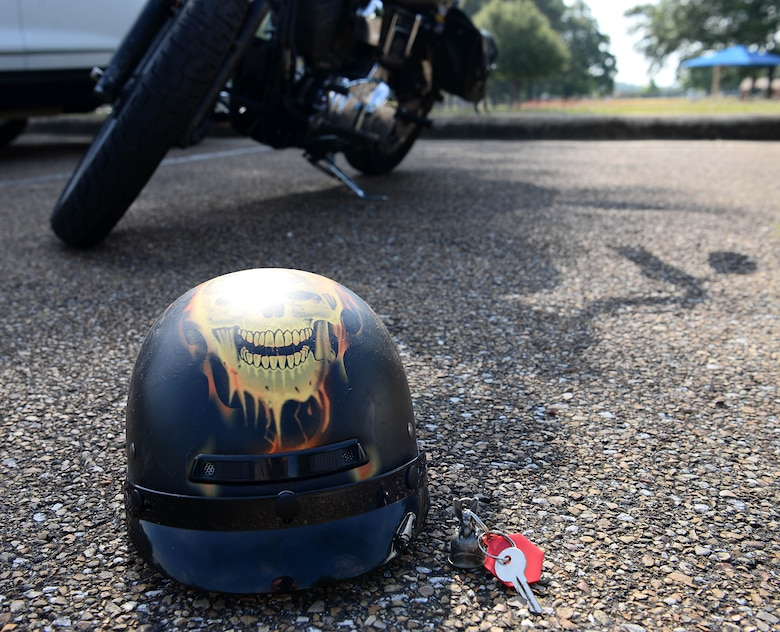 The basic rider course teaches students how to perform basic motorcycle skills to better prepare them for long term riding, May 30, 2019 at Columbus Air Force Base, Mississippi. ( U.S. Air Force photo by Airman 1st Class Jake Jacobsen)