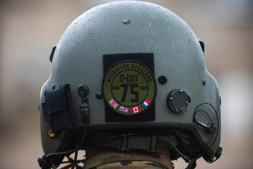 Aviator helmet with 75th Anniversary D-Day patch on it