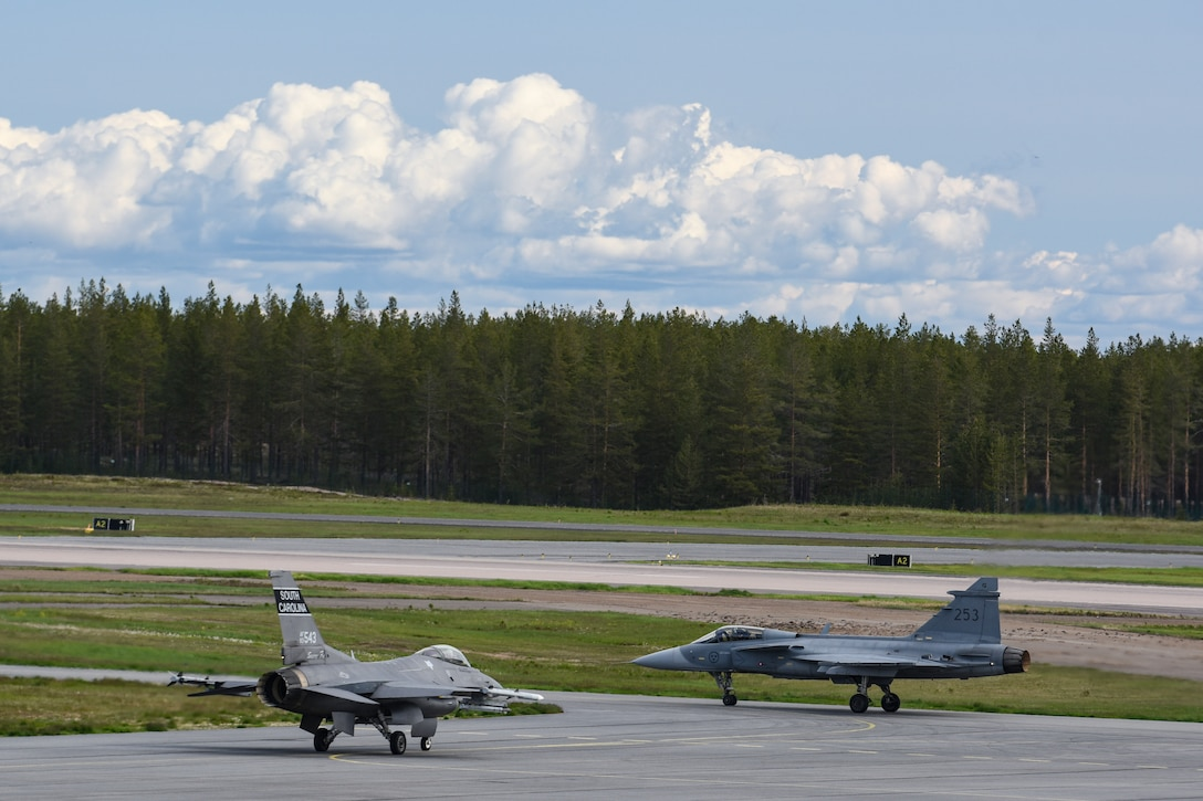 A U.S. Air Force F-16C Block 52 Fighting Falcon assigned to the Air National Guard's 169th Fighter Wing from McEntire Joint National Guard Base, S.C.