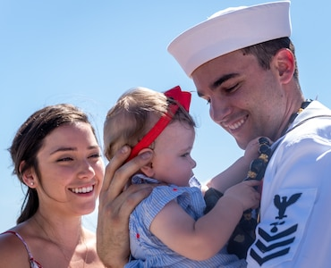 JOINT BASE PEARL HARBOR-HICKAM, Hawaii (June 6, 2019) – A Sailor assigned to the Virginia-class fast attack submarine USS Hawaii (SSN 776) greets his loved ones after arriving at Joint Base Pearl Harbor-Hickam, after completing his latest deployment, June 6. (U.S. Navy Photo by Mass Communication Specialist 1st Class Daniel Hinton)