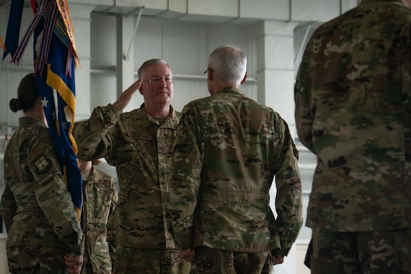 Col. Jeffrey Van Dootingh, 403rd Wing commander, renders a salute to Maj. Gen. Craig L. La Fave, 22nd Air Force commander, during the wing change of command ceremony June 9, 2019, at Keesler Air Force Base, Mississippi. (U.S. Air Force photo by Staff Sgt. Shelton Sherrill)