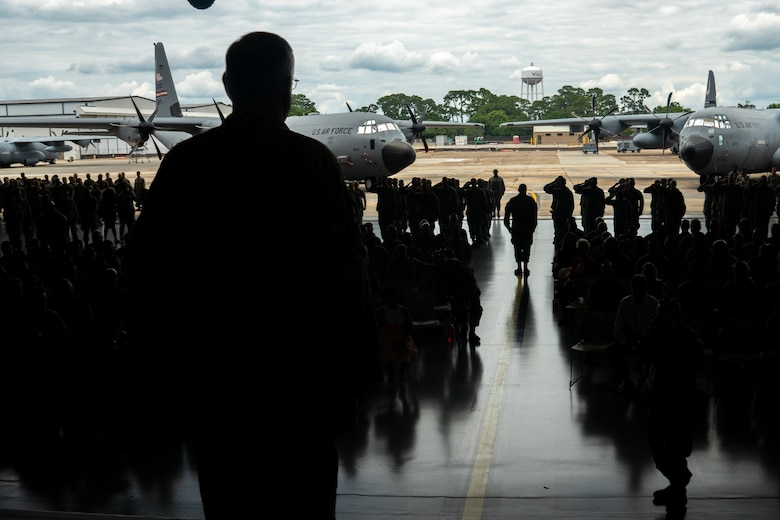 Reserve Citizen Airmen, family and friends welcome the new commander during the 403rd Wing Change of Command Ceremony June 9, 2019, at Keesler Air Force Base, Mississippi. (U.S. Air Force photo by Staff Sgt. Shelton Sherrill)