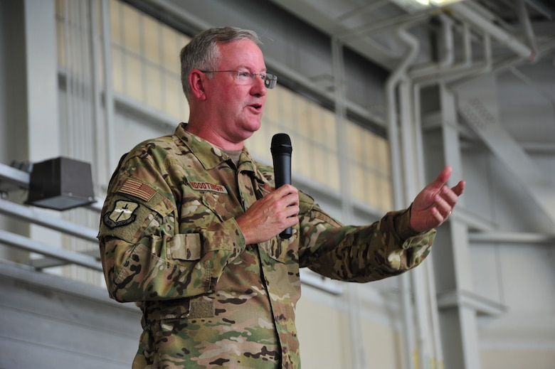 Col. Jeffrey A. Van Dootingh, 403rd Wing commander, speaks to the Airmen during the wing change command ceremony June 9, 2019 at Keesler Air Force Base, Mississippi. (U.S. Air Force photo by Tech. Sgt. Michael Farrar)