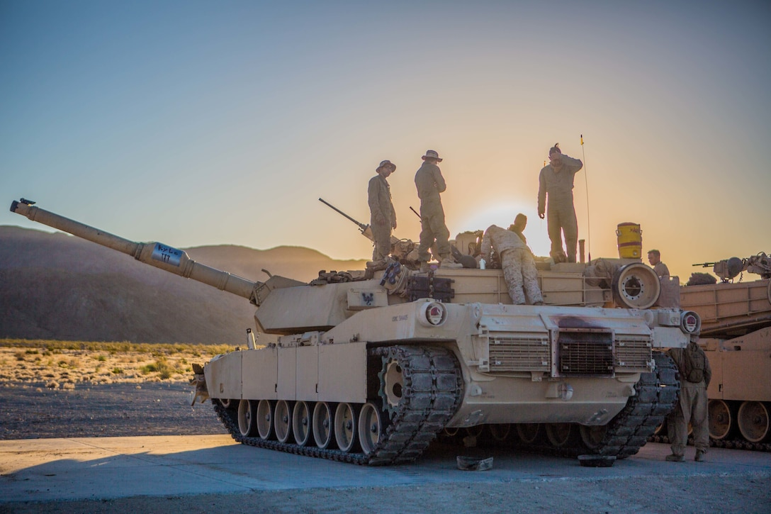 U.S. Marines with A Company, 4th Tank Battalion, 4th Marine Division, prepare to conduct their battle sight zero at Range 500 during Integrated Training Exercise 4-19 at Marine Corps Air Ground Combat Center, Twentynine Palms, Calif., June 9, 2019. ITX is a combined-arms exercise conducted to prepare units for global contingencies and to increase combat readiness.