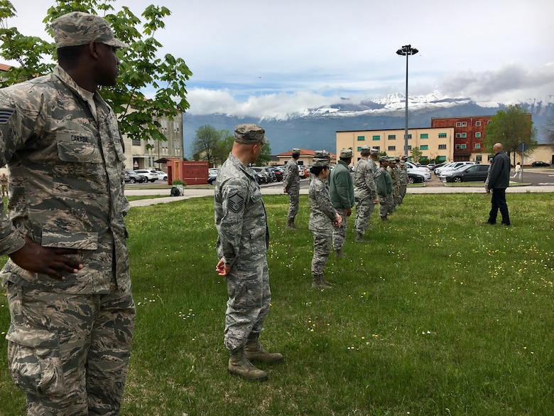 Members from the 111th Attack Wing teach a class on field sobriety testing and held a practical exercise with both the active duty and ANG members. Italy, May, 8. (Courtesy Photo)