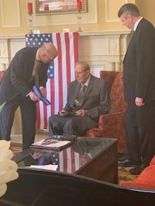 Mr. Dick Bernard with NSA Deputy Director, Mr.George Barnes and Mr. Doug Nieman, former DEFSMAC Director