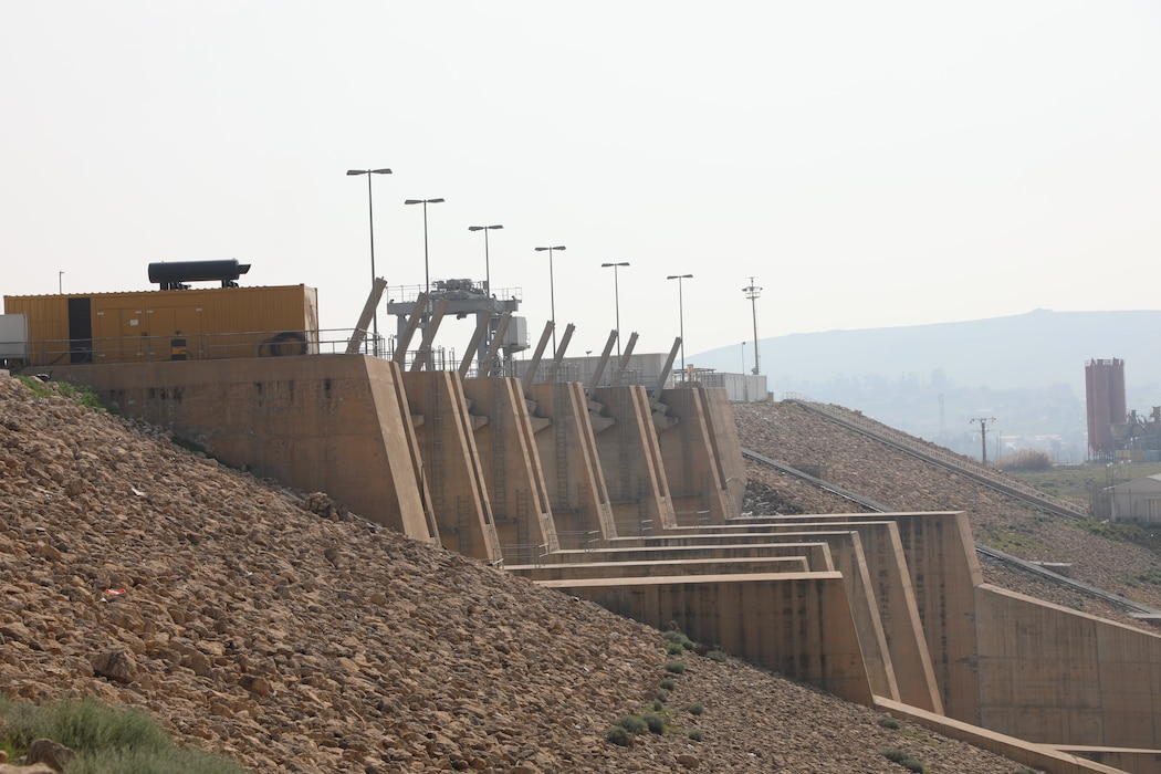 The gates on the Mosul Dam spillway that are used to release water from the reservoir, which holds billions of gallons of water.