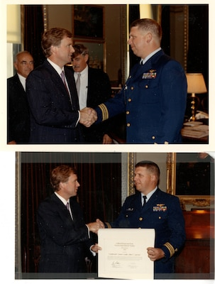 LT(jg) Currier receiving Clifford B. Harmon Trust Harmon International Trophy Aviator 1980
