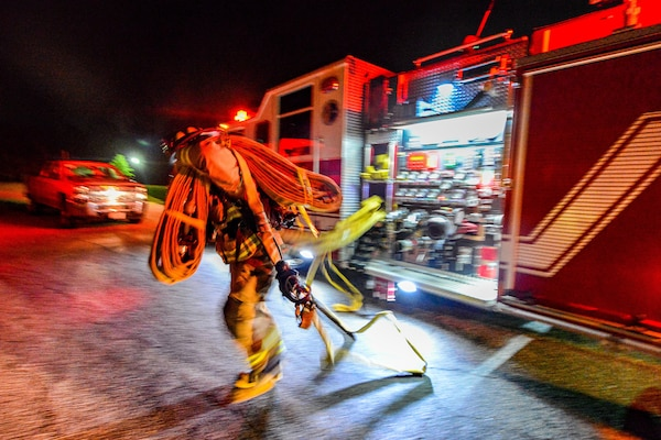 U.S. Soldiers attending training at the 218th Regional Training Institute, South Carolina Army National Guard, are tested on evacuation, safety and accountability measures during a night-time fire drill held at the McCrady Training Center in Eastover, South Carolina, June 8, 2019.