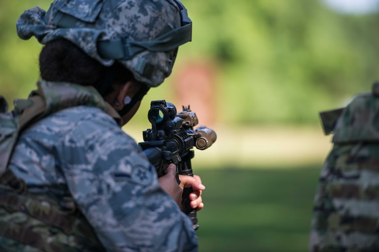 A Reserve Citizen Airman from the 315th Airlift Wing at Joint Base Charleston, SC, trains at the Combat Arms Training and Maintanence course June 1, 2019 at Joint Base Charleston.