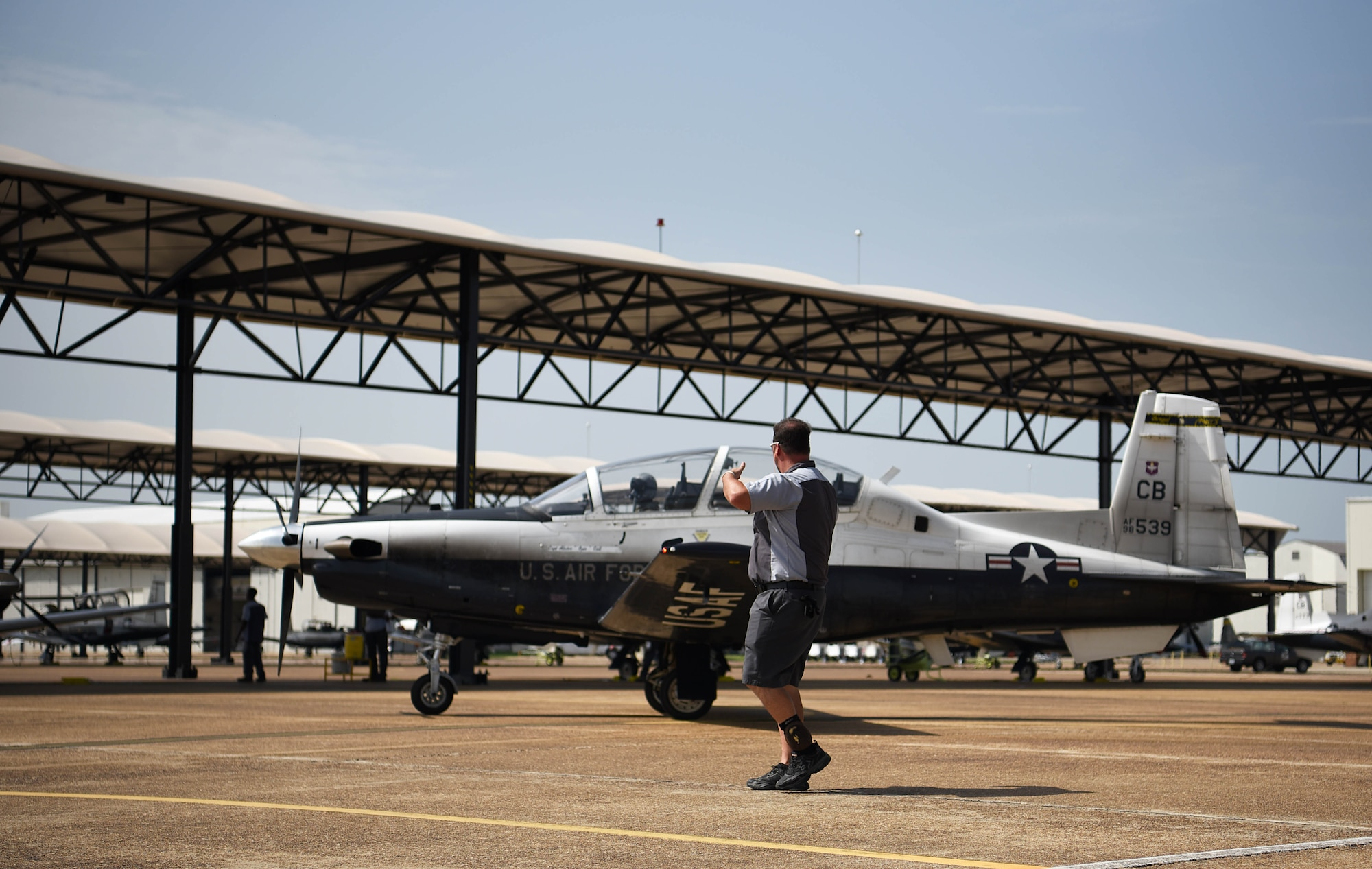 A T-6 Texan II taxis for takeoff July 2, 2018, at Columbus Air Force Base, Miss. The Air Force is looking at ways to procure hardware upgrades like the enhanced OBOGS faster and smarter, increase basic science and research, and collect and apply new research data into acquisitions standards in order to properly address the broader issue of physiological events that cuts across all manned aviation. (U.S. Air Force photo by Airman 1st Class Keith Holcomb)