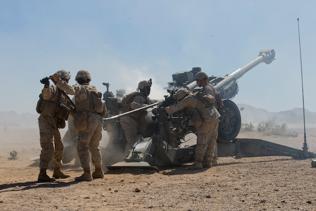 U.S. Marines with India Battery, 11th Marine Regiment, 1st Marine Division, conduct a live fire exercise as part of Weapons and Tactics Instructor (WTI) course 2-19 in Yuma Ariz., April 17, 2019. WTI is a seven week training event hosted by Marine Aviation Weapons and Tactics Squadron One, which emphasizes operational integration of the six functions of Marine Corps aviation in support of a Marine Air Ground Task Force. (U.S. Marine Corps photo by Lance Cpl. Andres Hernandez)