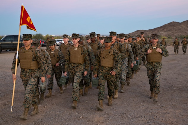 U.S. Marines with Marine Aviation Logistics Squadron (MALS) 13 hike up telegraph as part of a unit training event in Yuma Ariz., 18, 2019. The purpose of this hike was to promote unit moral within MALS-13. (U.S. Marine Corps photo by Pfc. John Hall)