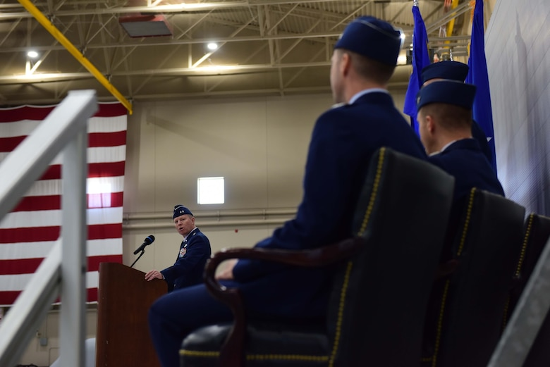 Maj. Gen. Andrew Croft, Twelfth Air Force (Air Forces Southern) commander, gives opening remarks during the 432nd WG change of command ceremony at Creech Air Force Base, Nevada, June 7, 2019. Croft recognized   Col. Julian Cheater, outgoing 432nd Wing/432nd Air Expeditionary Wing commander, and welcomed Col. Stephen Jones, incoming 432nd WG/432nd AEW commander. (U.S. Air Force photo by Airman 1st Class Haley Stevens)