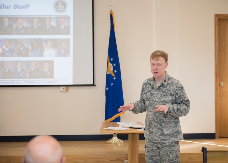 Maj. Matthew Ellis, 366th Fighter Wing chaplain, speaks at clergy day June 6, 2019 at Mountain Home Air Force Base, Idaho. The event was held to find ways to support Airmen with different religious backgrounds. (U.S. Air For photo by Senior Airman Tyrell Hall)