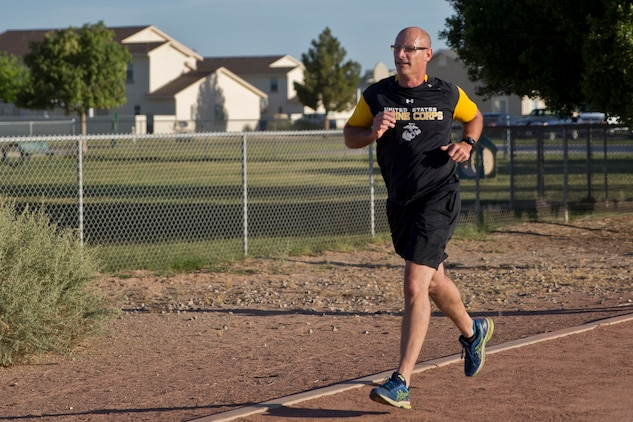 U.S. Marine Corps Col. David A. Suggs Commanding Officer Marine Corps Air Station (MCAS) Yuma participates in the 2019 Environmental Earth Day Fun Run at MCAS Yuma Ariz., April 26, 2019. The Environmental Earth Day Fun Run is a 5k race held annually bringing awareness to Marines, Sailors and civilians about the protection of our environment (U.S. Marine Corps photo by Lance Cpl. Joel Soriano)