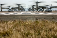 U.S. Marine Corps MV-22B Ospreys with Marine Medium Tiltrotor Squadron 161, Marine Aircraft Group 16, 3rd Marine Aircraft Wing, prepare to fly at Marine Corps Air Station Miramar, Calif., June 6, 2019. In a dynamic display of combat power that featured over 40 aircraft in MAG-16's mass flight, the aircraft showcased the tactical capabilities and power that the Marine Air Ground Task Force uses to defend the nation.