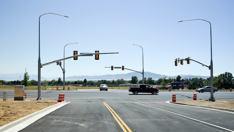 Construction of a new traffic light at the intersection of Arsenal Road and Wardleigh Boulevard was completed June 11, 2019, at Hill Air Force Base, Utah. Motorists and pedestrians should be aware of the new signal and continue to obey all traffic safety laws as they travel through the area. Officials said the increasing volume of traffic and the safety of motorists along Wardleigh is the reason for the new traffic signal. For more information, call 801-586-2559.