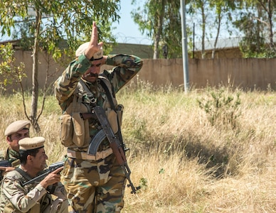 Peshmerga soldiers conduct a squad movement exercise at Bnaslawa Training Center near Erbil, Iraq, May 22, 2019.  The exercise was led by local trainers, under the guidance of Italian Army instructors.  The soldiers are among more than 500 Peshmerga soldiers participating in 10 weeks of training with the support of Coalition Forces.  At the invitation of the Government of Iraq, members of the Global Coalition provide training and advice to local forces in support of the enduring mission to defeat Daesh. (U.S. Army photo by Spc. Kahlil Dash)