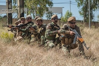 Peshmerga soldiers prepare to conduct a squad movement during a wide area security exercise at Bnaslawa Training Center near Erbil, Iraq, May 22, 2019.  The exercise was led by Peshmerga trainers under the guidance of Italian Army instructors.  The soldiers are among more than 500 Peshmerga soldiers participating in 10 weeks of training with the support of Coalition Forces.  At the invitation of the Government of Iraq, members of the Global Coalition provide training and advice to local forces in support of the enduring mission to defeat Daesh. (U.S. Army photo by Spc. Kahlil Dash)