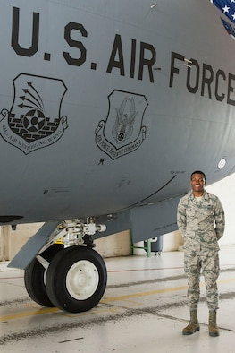 Senior Airman Kenneth Blue III, a 434th aircraft guidance and controls technician, poses for a photo next to a KC-135 Stratotanker at Grissom Air Reserve Base, Ind. June 6, 2019. Blue was recently accepted in the United States Air Force Academy and will undergo a rigorous academic and military training program before commissioning as an officer. 