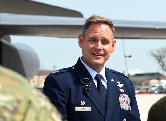 Col. David A. Doss, the 28th Bomb Wing commander, speaks with local media reporters after his change of command ceremony on Ellsworth Air Force Base, S.D., May 30, 2019. As commander, he is responsible for the largest B-1 combat wing in the U.S. Air Force, with a fleet of 27 B-1B Lancers and more than 3,800 Airmen and civilians. (U.S. Air Force photo by Airman 1st Class Christina Bennett)