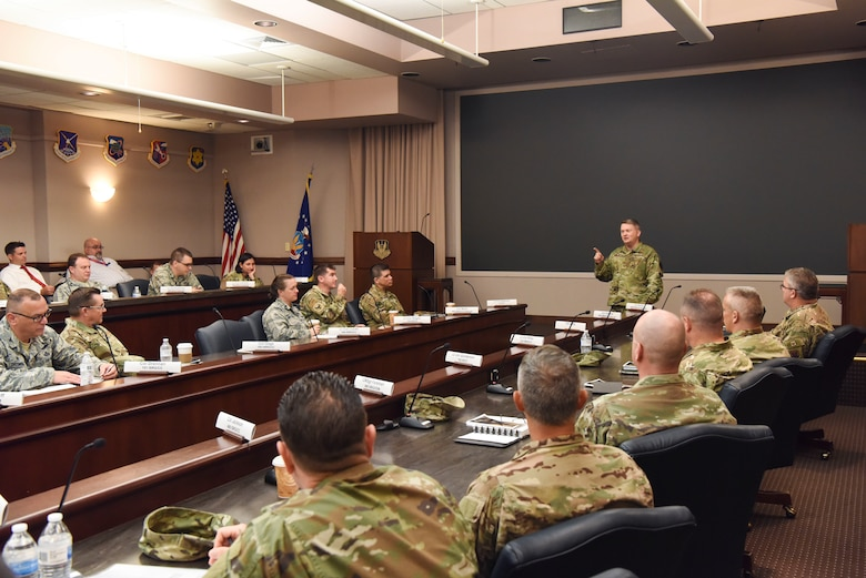 U.S. Air Force Col. Max Pearson, 480th Intelligence, Surveillance and Reconnaissance Wing commander, speaks to group commanders and senior enlisted leaders from across the enterprise during the Global Synchronization and Planning Meeting at Joint Base Langley-Eustis, Virginia, May 29-31, 2019. With six geographically separated groups working together to complete ISR missions, this three-day meeting the group to share best practices, improve overall communication and continue shaping the future of the enterprise. (U.S. Air Force photo by Tech. Sgt. Darnell Cannady)