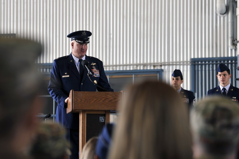 U.S. Air Force Col. Richard Carrell, 58th Operations Group commander, speaks to members of the 58th Operations Support Squadron during the 58th OSS change of command ceremony at Kirtland Air Force Base, N.M., June 6, 2019. The mission of the 58th OSS is to provide training and support to tomorrow's special operations, personnel recovery, and homeland defense warriors. (U.S. Air Force photo by Staff Sgt. Dylan Nuckolls)