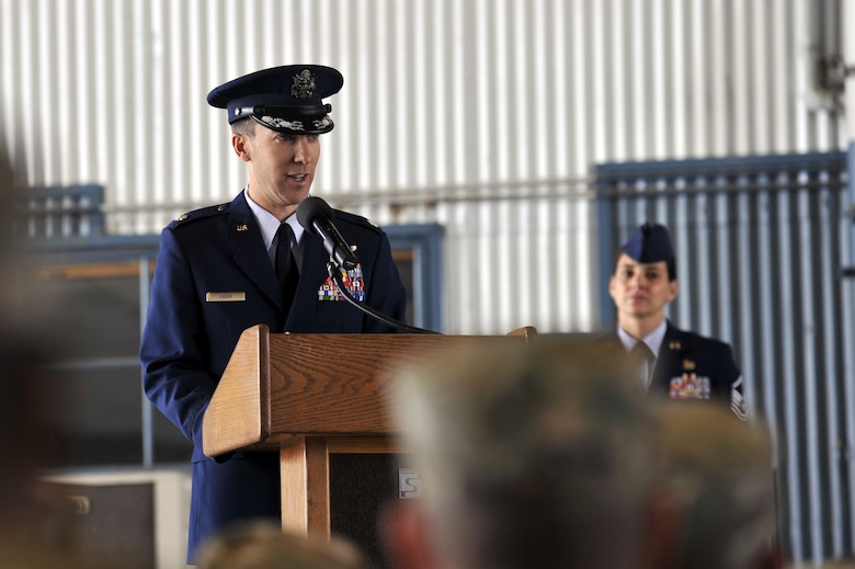 U.S. Air Force Lt. Col. Andrew Lazar, 58th Operations Support Squadron commander, speaks to those attending the 58th OSS change of command ceremony at Kirtland Air Force Base, N.M., June 6, 2019. The mission of the 58th OSS is to provide training and support to tomorrow's special operations, personnel recovery, and homeland defense warriors. (U.S. Air Force photo by Staff Sgt. Dylan Nuckolls)