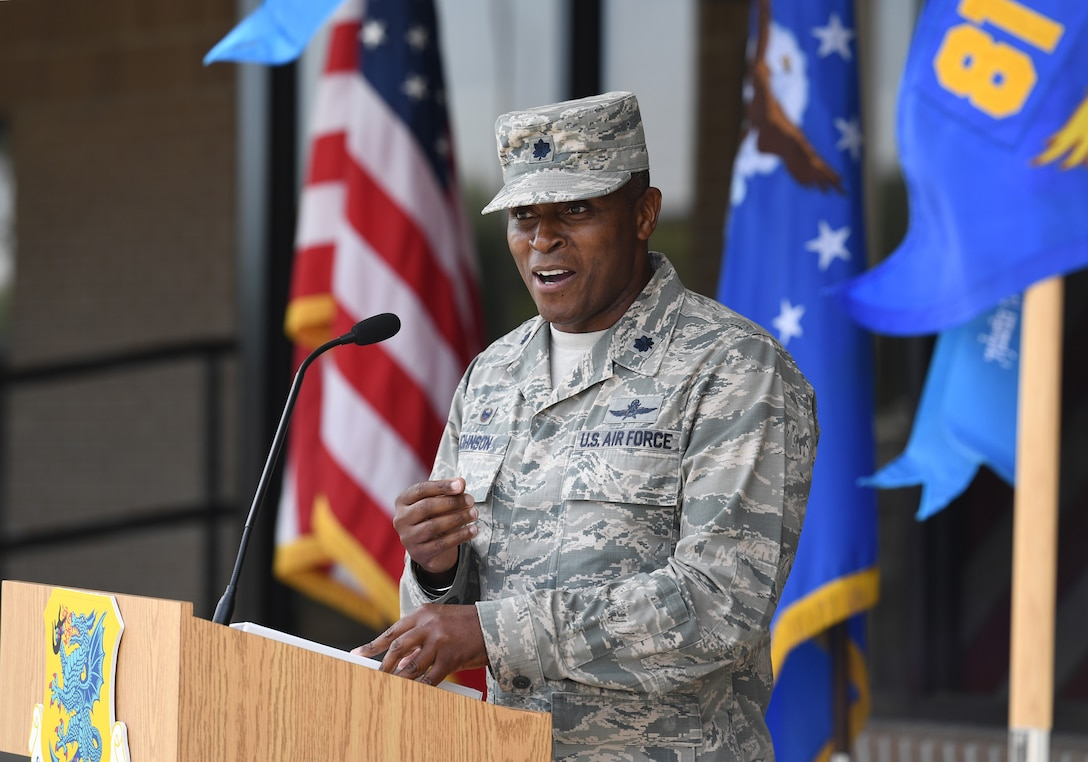 U.S. Air Force Lt. Col. Andre Johnson, 338th Training Squadron commander, delivers remarks during a Military Training Leader course graduation ceremony at the Levitow Training Support Facility on Keesler Air Force Base, Mississippi, May 30, 2019. The MTL course is responsible for training approximately 120 MTLs per year. Those MTLs are then responsible for training approximately 30,000 Airmen in 49 different locations that fall under Air Education and Training Command. (U.S. Air Force photo by Kemberly Groue)