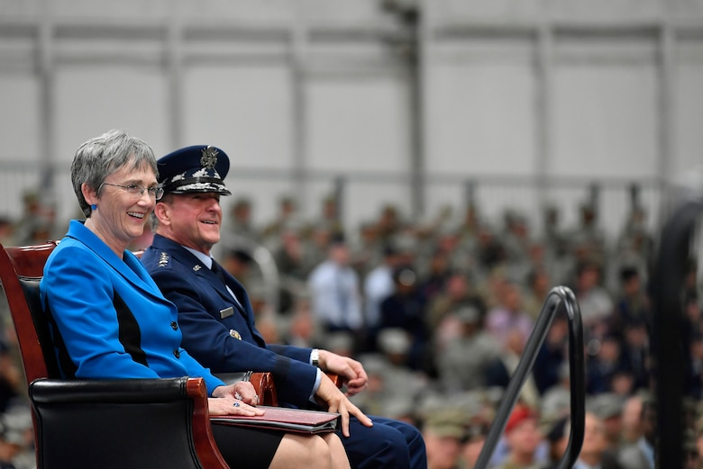 Secretary of the Air Force Heather Wilson and Air Force Chief of Staff Gen. David L. Goldfein smile during the SECAF's farewell ceremony at Joint Base Andrews, Maryland, May 21, 2019. Wilson announced her resignation in March after she was selected to be president of the University of Texas, El Paso; her last day as Air Force secretary was May 31, 2019. (U.S. Air Force photo by Wayne Clark)