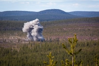 Ordnance dropped from a U.S. Marine Corps F/A-18 Hornet impacts during the Bold Quest 19.1 event at Rovajarvi Range near Rovaniemi, Finland, May 16, 2019. The U.S. Marine Corps' participation in Bold Quest 19.1 ensures close-air support interoperability and enables the Marine Corps to globally deploy its forces alongside partner nations and allies. The aircraft is assigned to Marine Fighter Attack Squadron 251, Marine Aircraft Group 31, 2nd Marine Aircraft Wing.